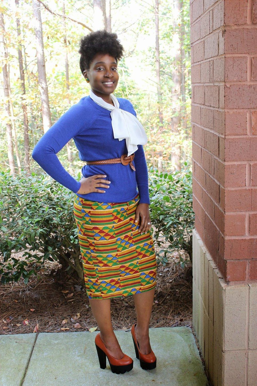 Atlanta style blogger, style blogger, Atlanta blogger, street style, blue sweater, tribal print, print skirt, trendy work wear