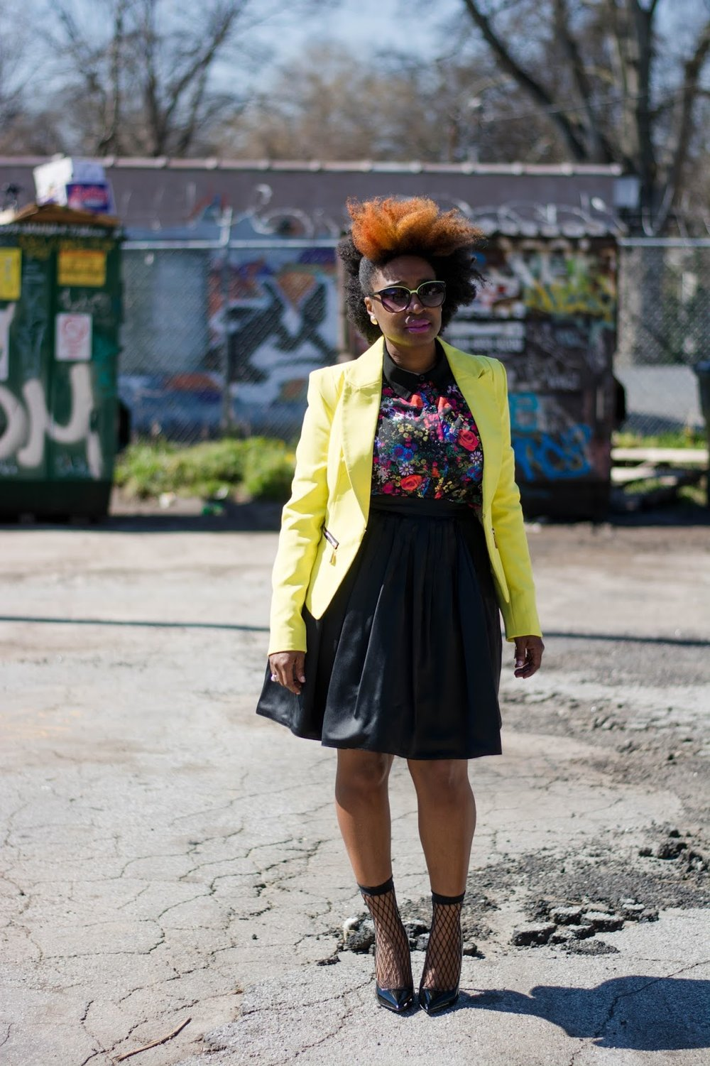 Atlanta style blogger, street style, thrifted fashion, yellow blazer, Target style, ShoeDazzle, Funky Flair Boutique, black skirt, black girls killing it, black blogger, black girls rock, Atlanta stylist, Atlanta wardrobe stylist, black pumps, Natural fashion blogger