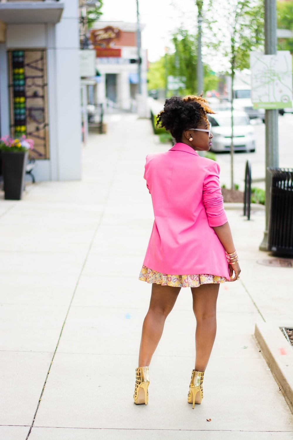 Atlanta style blogger, style blogger, Atlanta blogger, Atlanta stylist, Forever21, pink blazer, Midi skirt, Gold heels, caged heels, gold accessories, Style style, black bloggers, black girls rock, black girls killing it, Style influencer, Atlanta stylist, natural hair fashion, Atlanta street fashion