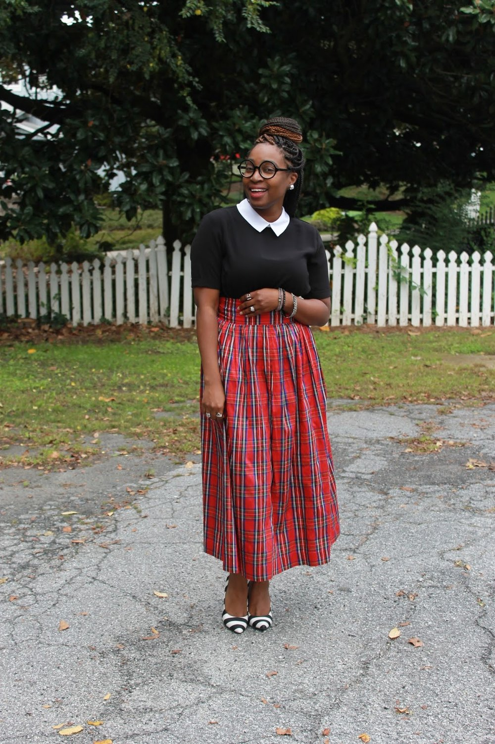 Atlanta style blogger, Street Style, Atlanta blogger, style blogger, blogger, tartan print skirt, mixed prints, black and white top, striped shoes