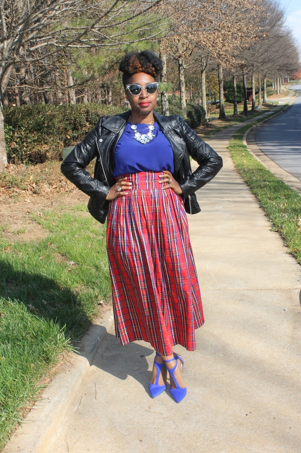 Moto jacket, plaid skirt, Atlanta blogger, style blogger