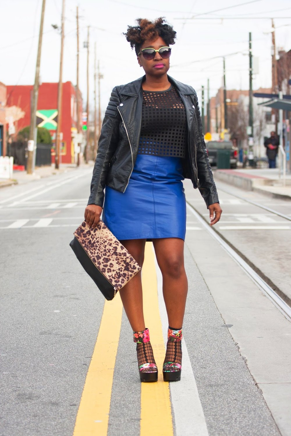 Atlanta style blogger, style blogger, atlanta blogger, black moto jacket, blue leather skirt, black girls killing it, street style, street fashion