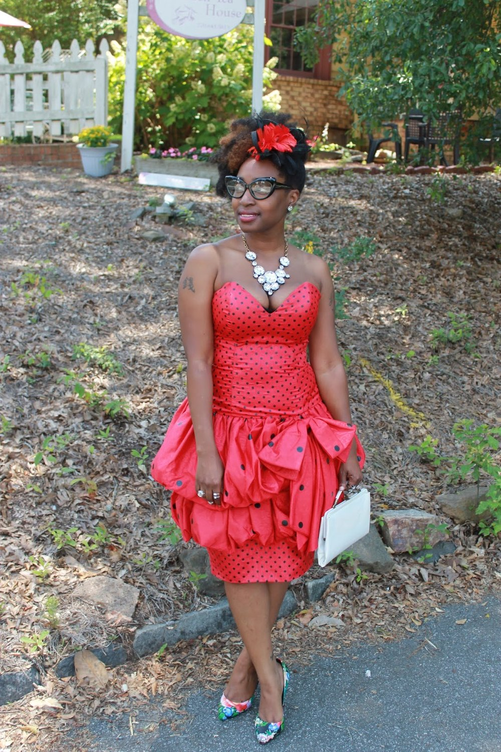 Atlanta style blogger, style blogger, blogger, Atlanta blogger, street style, vintage fashion, polka dot dress, peplum dress, vintage, mixed prints, high tea party