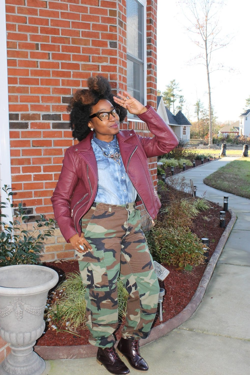 Atlanta style blogger, style blogger, Atlanta blogger, natural girls killing it, street style, Moto Jacket, Fatigue Pants