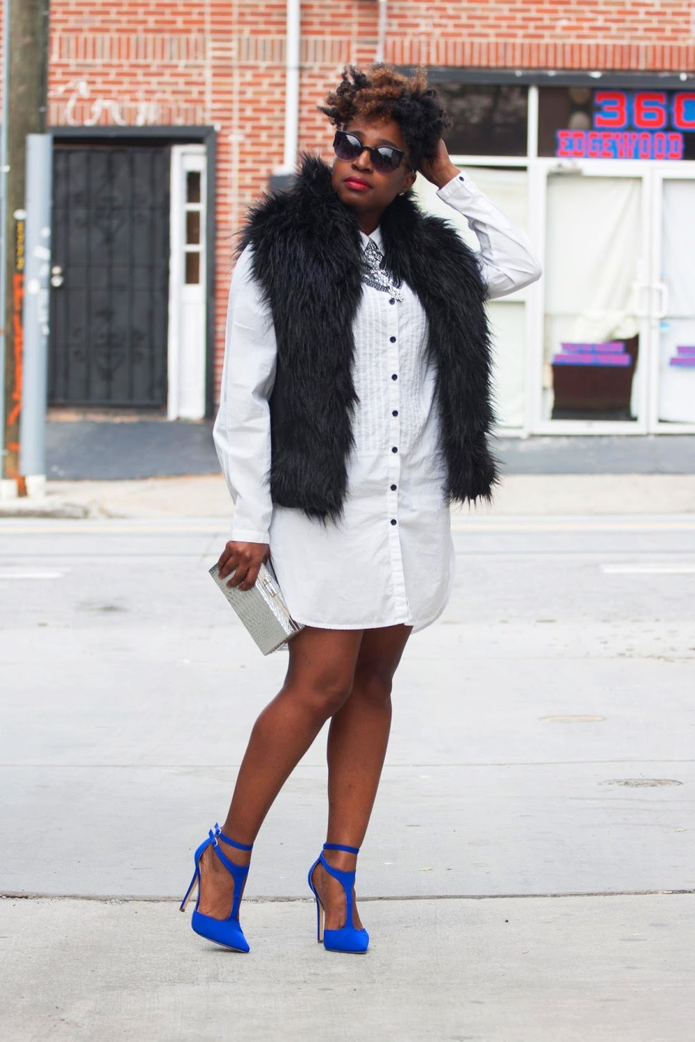 Atlanta blogger, style blogger, Atlanta style blogger, fur vest, shirt dress