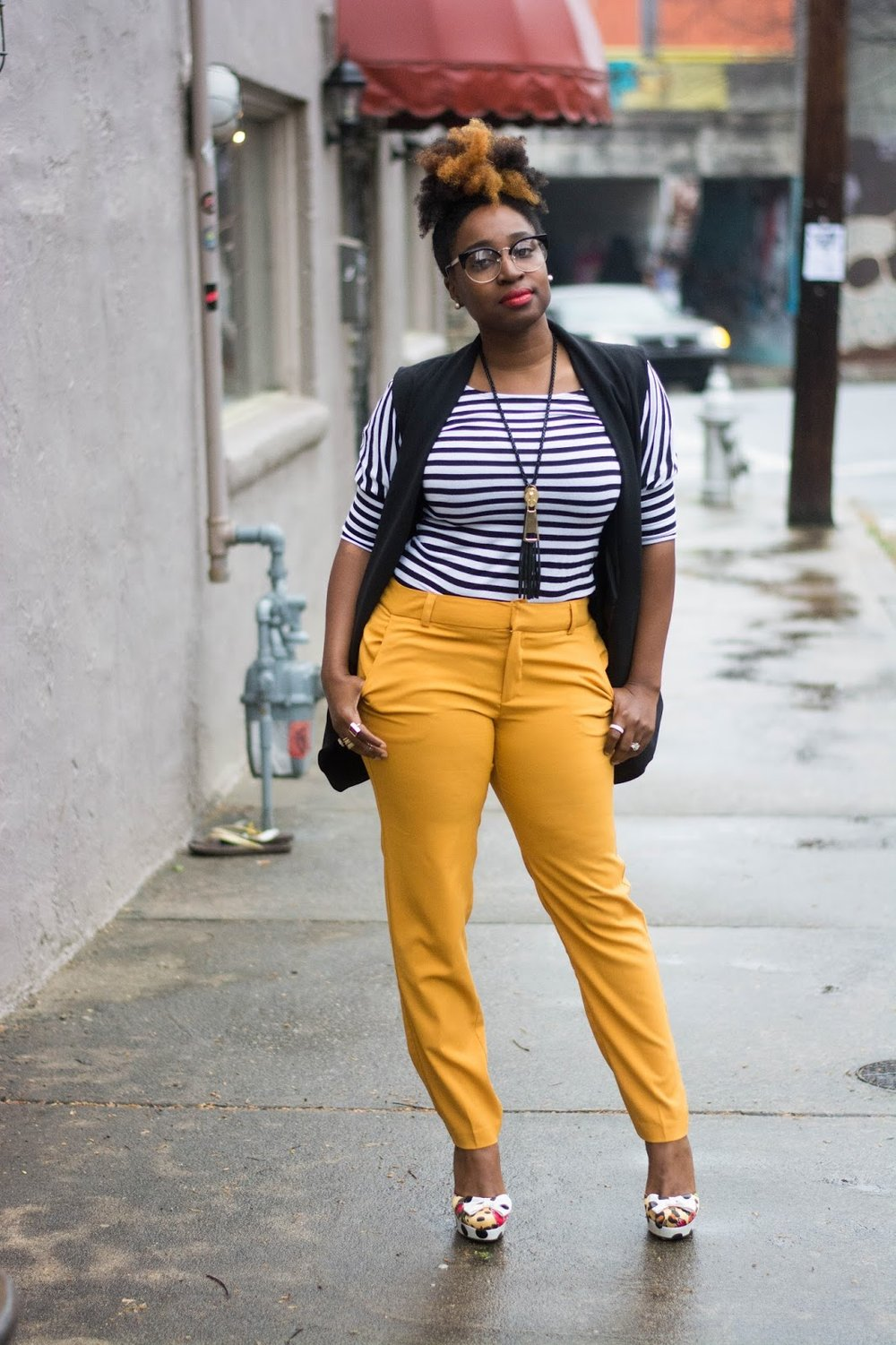 Atlanta Stylist, Atlanta blogger, Style blogger, Atlanta street style, Street style, Black bloggers, Mustard Pants, Striped shirt, Black vest, Forever21, Atlanta Fashion, Mixed prints, Thrifted fashion, Black girls killing it, Fashion blogger, Natural hair fashion, Black girls rock, Naturals Rock, What to wear to work, Workwear