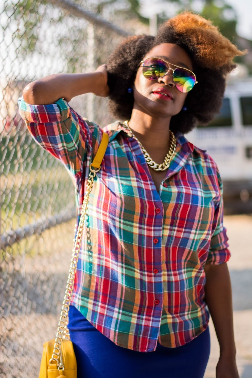 Atlanta style blogger, style blogger, Atlanta street style, Atlanta stylist, black girls rock, black blogger, black girls killing it, natural hair style, mirrored sunglasses, forever21 style, plaid shirt, shoedazzle, tassel handbag, mustard handbag, justfab, Atlanta style, Style influencer, Atlanta influencer, black girl magic, brown girl bloggers, black blogger, petite fashion, sneakers and skirts