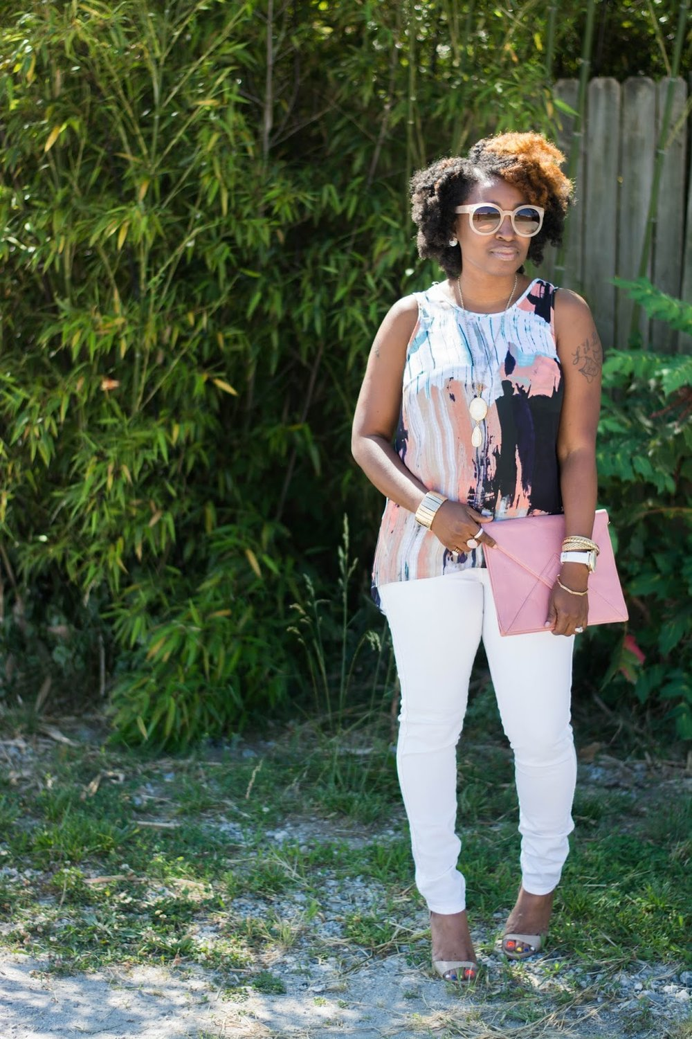 Atlanta style influencer, Atlanta blogger, Atlanta Stylist, Atlanta street fashion, street style, black girl rock, black girl magic, natural girls rock, natural hair, 4c hair chick, thrifted fashion, hm skinny jeans, black blogger, brown girl blogger, shoedazzle, fashion blogger, stylist, black girls killing it, mossimo, aldo sunnies, nude heels, white jeans, petite style, charming charlie watch, charlotte russe accessories