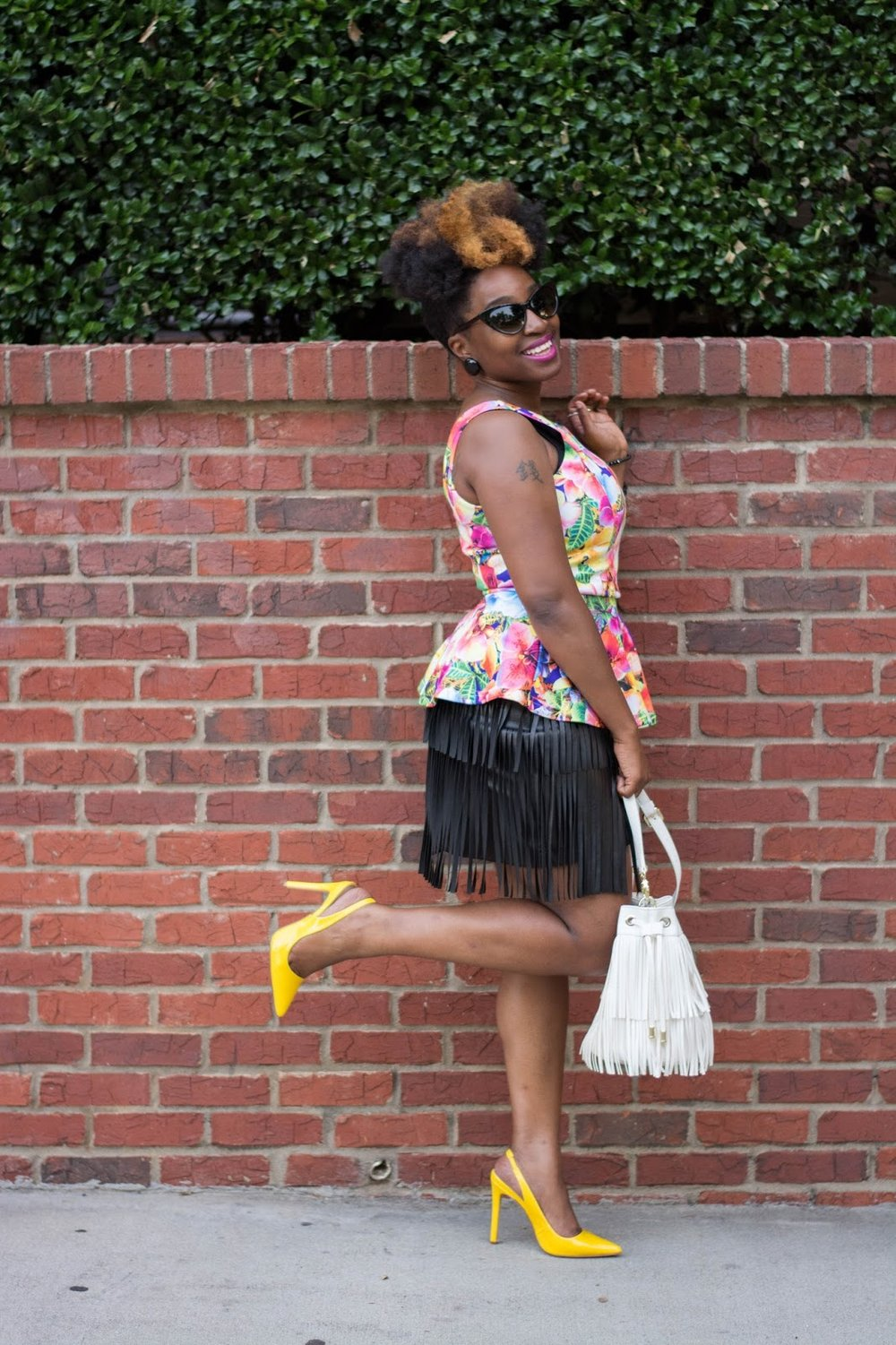 floral peplum, faux leather, fringe leather skirt, atlanta style blogger, style blogger, atlanta style, atlanta fashion, street fashion, altanta influencer, style influencer, black blogger, brown girl blogger, black girl magic, black girls rock, black girls killing it, thrifted fashion, plato's closet, shoedazzle, fringe handbag, natural hair, naturals rock, 4c natural hair chick, black skirt