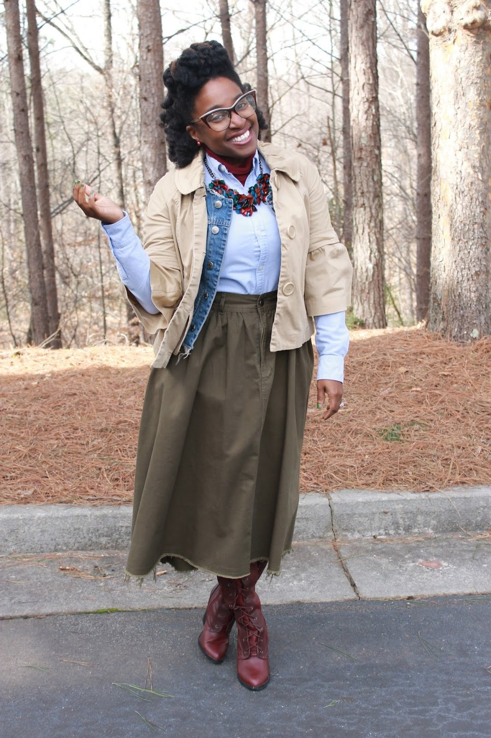Atlanta blogger, style blogger, Atlanta Style Blogger, Olive skirt, mini trench, turtle neck, denim vest, statement necklace, burgundy boots, crossbody handbag, natural hair, black girl magic, black girl fashion, trendy work wear, Thrifting Atlanta