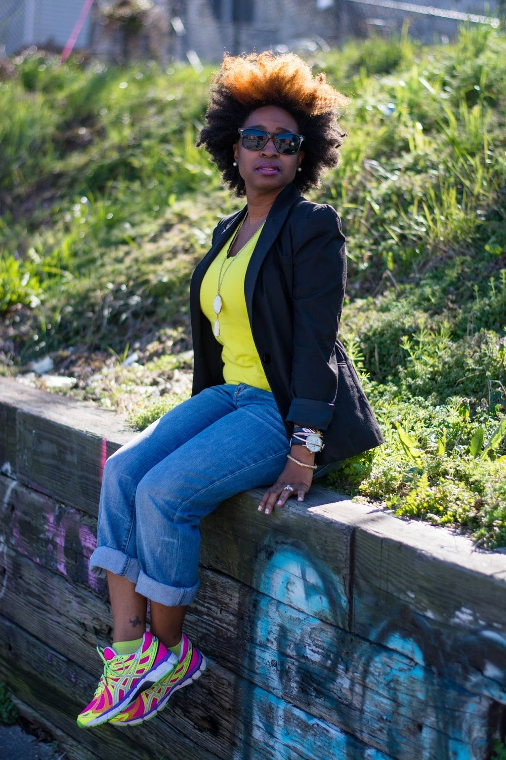style blogger, street style, athleisure, sports inspired, Atlanta blogger, pink sneakers, black blazer, natural hair, black blogger, black girl magic