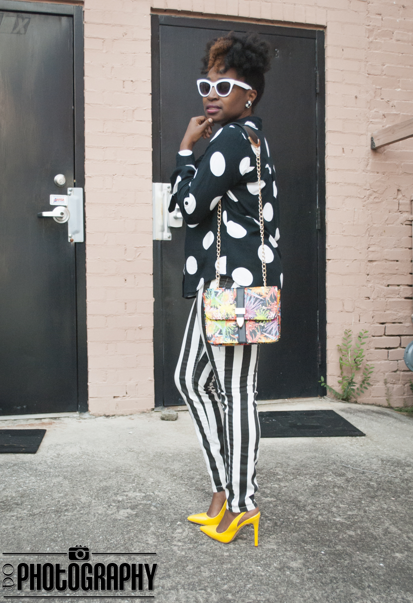 Atlanta style blogger, style blogger, Atlanta blogger, Mixed prints, thrifted fashion, street style, black and white, shoedazzle
