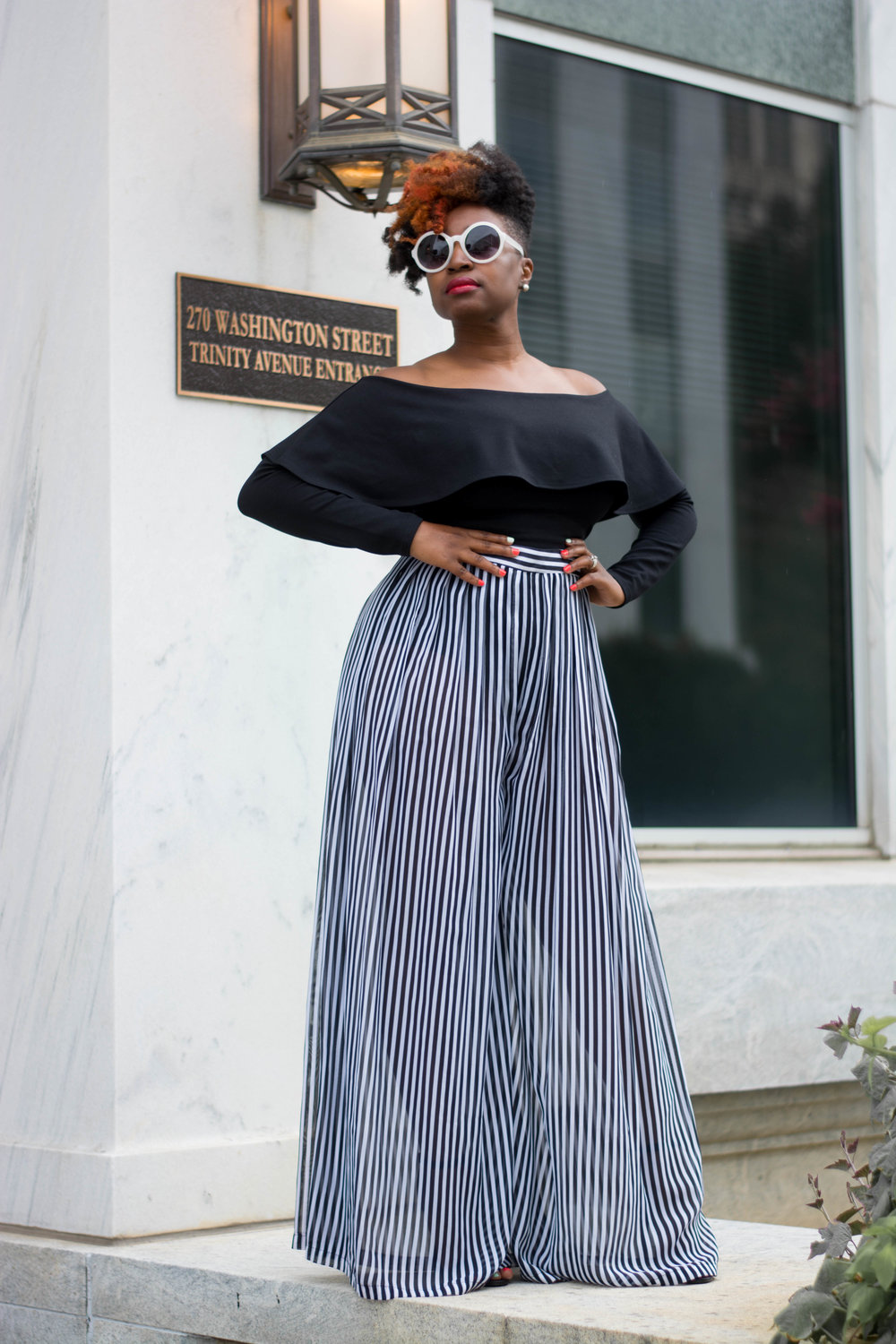 Melodie Stewart, The Style Klazit, Over the shoulder top and Palazzo pants, Atlanta Style blogger, Atlanta Stylist