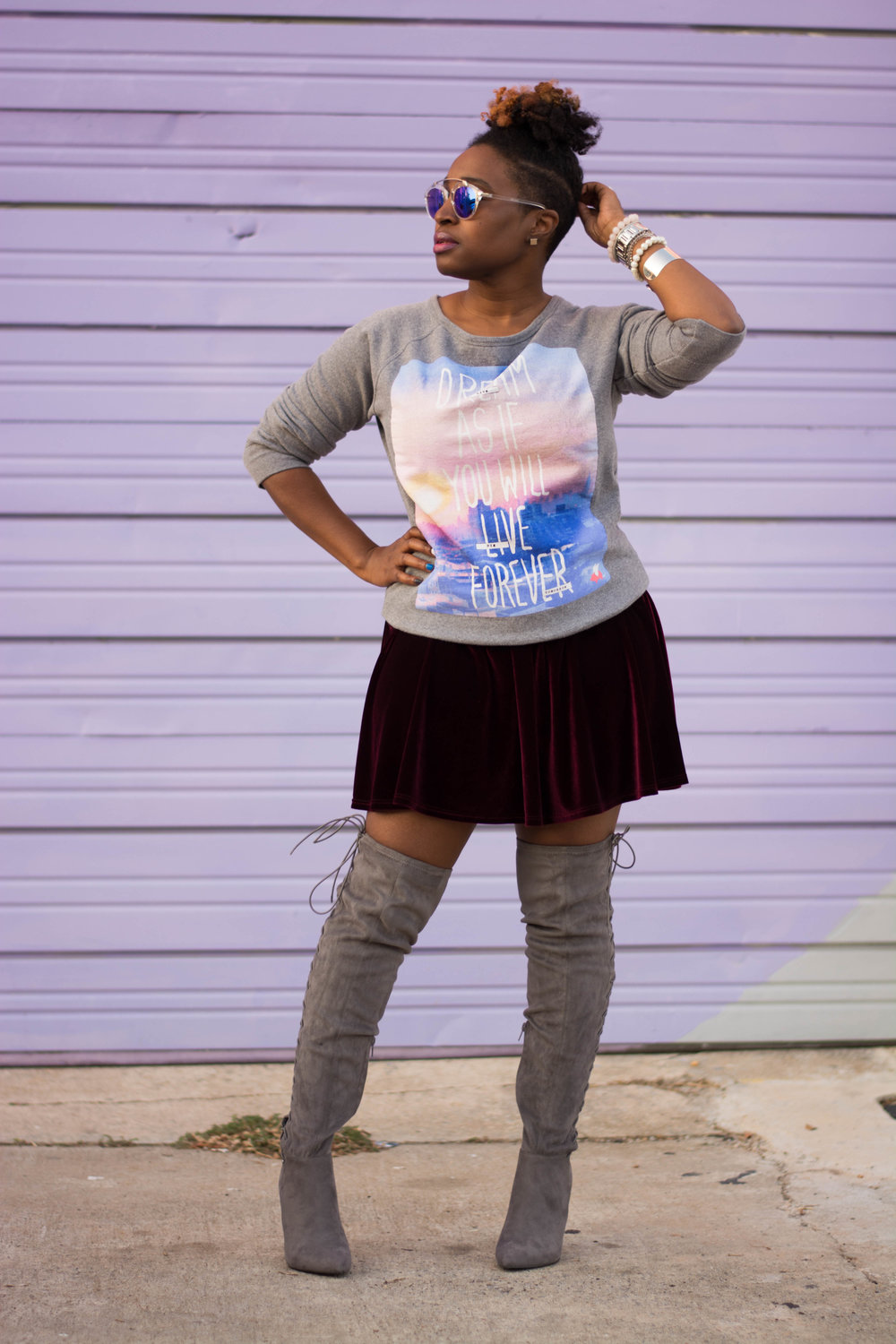 Melodie Stewart, The Style Klazit, velvet skater skirt, over the knee boots, sweatshirt, shoedazzle, Atlanta style blogger, Atlanta stylist