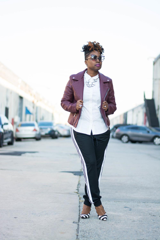 The Style Klazit, Melodie Stewart, athleisure street style, Atlanta style blogger, moto jacket, adidas joggers
