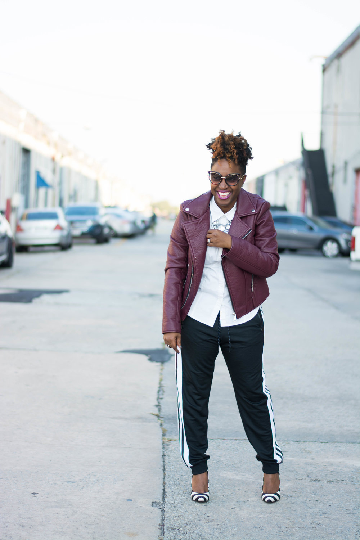 The Style Klazit, Melodie Stewart,athleisure street style, Atlanta style blogger, moto jacket, adidas joggers