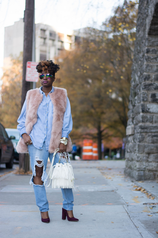 Melodie Stewart, The Style Klazit, Atlanta style blogger, Atlanta stylist, Faux fur vest, distressed denim, fringe bucket bag