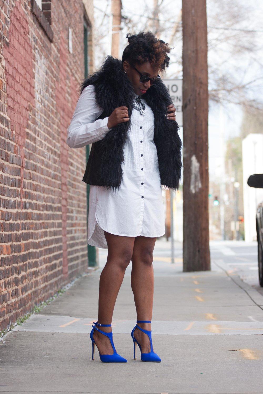 Melodie Stewart, The Style Klazit, Shirt Dress, Faux Vest, Atlanta style blogger, Atlanta stylist, shoedazzle