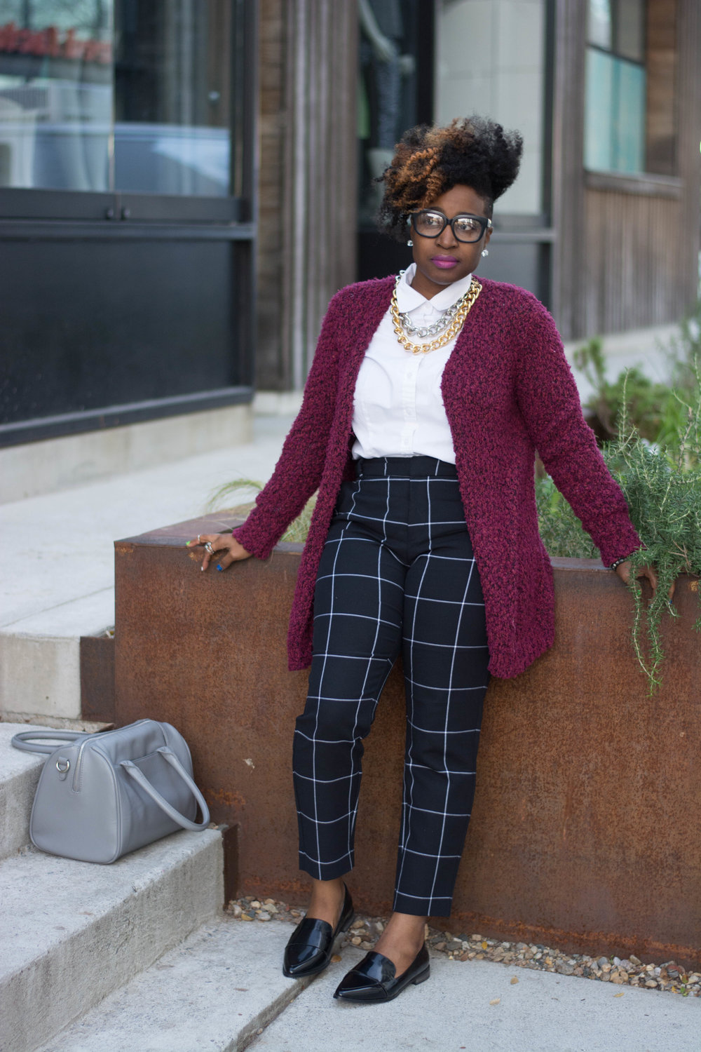 Melodie Stewart, The Style Klazit, Atlanta style blogger, Atlanta wardrobe stylist, windowpane print, black loafers, Atlanta street style