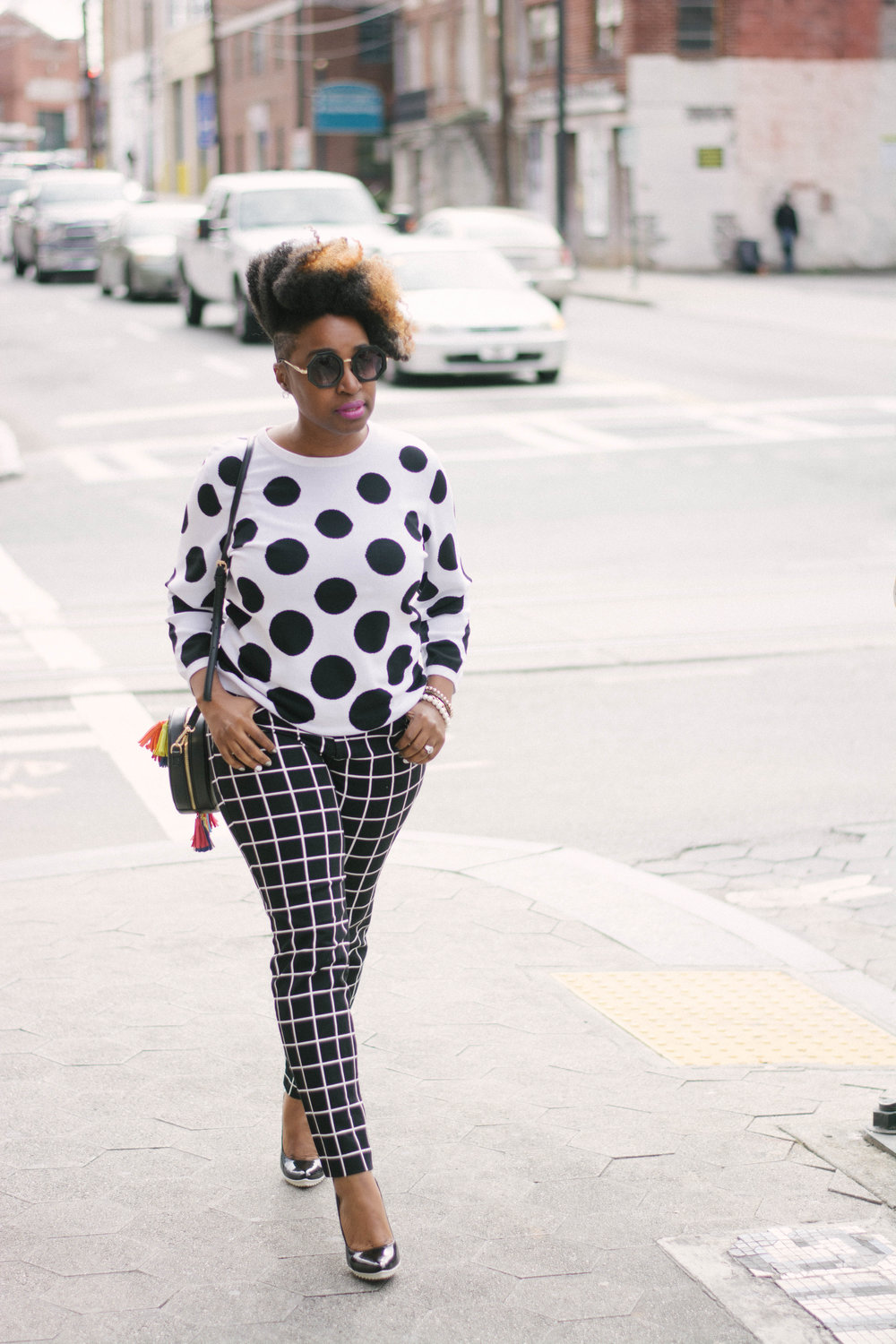 Melodie Stewart, The Style Klazit, Atlanta style blogger, Style Influencer, Polka dots and stripes, mixed prints