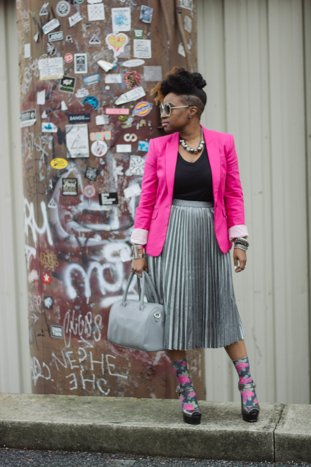 Melodie Stewart, The Style Klazit, Atlanta style blogger, metallic pleated skirt, street style, pink blazer, heels and socks