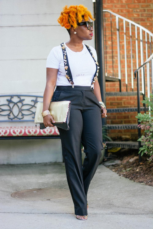 Melodie Stewart, The Style Klazit, Atlanta Style Blogger, Tuxedo Pants, DIY Suspenders, Atlanta streetstyle