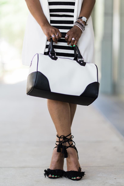 Melodie Stewart, The Style Klazit, Atlanta Style Blogger, Black and White Street Style, Target Style, Fringe Heels, Black Blogger
