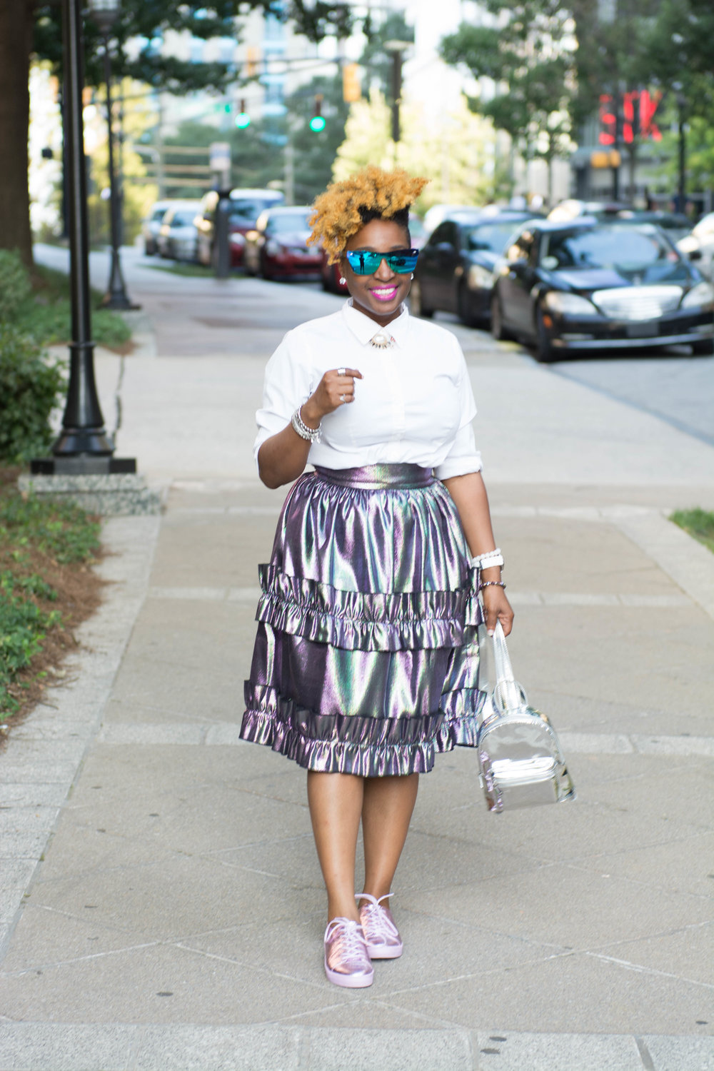 Melodie Stewart, The Style klazit, asos metallic jacquard skirt, metallic pink sneakers, atlanta style blogger