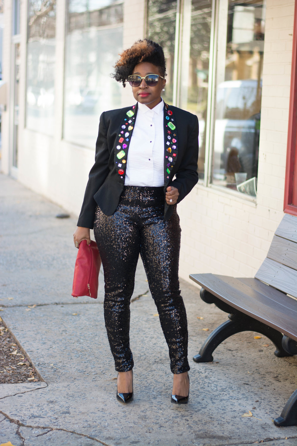 New Years Eve: Tuxedo Shirt + Sequin Leggings -