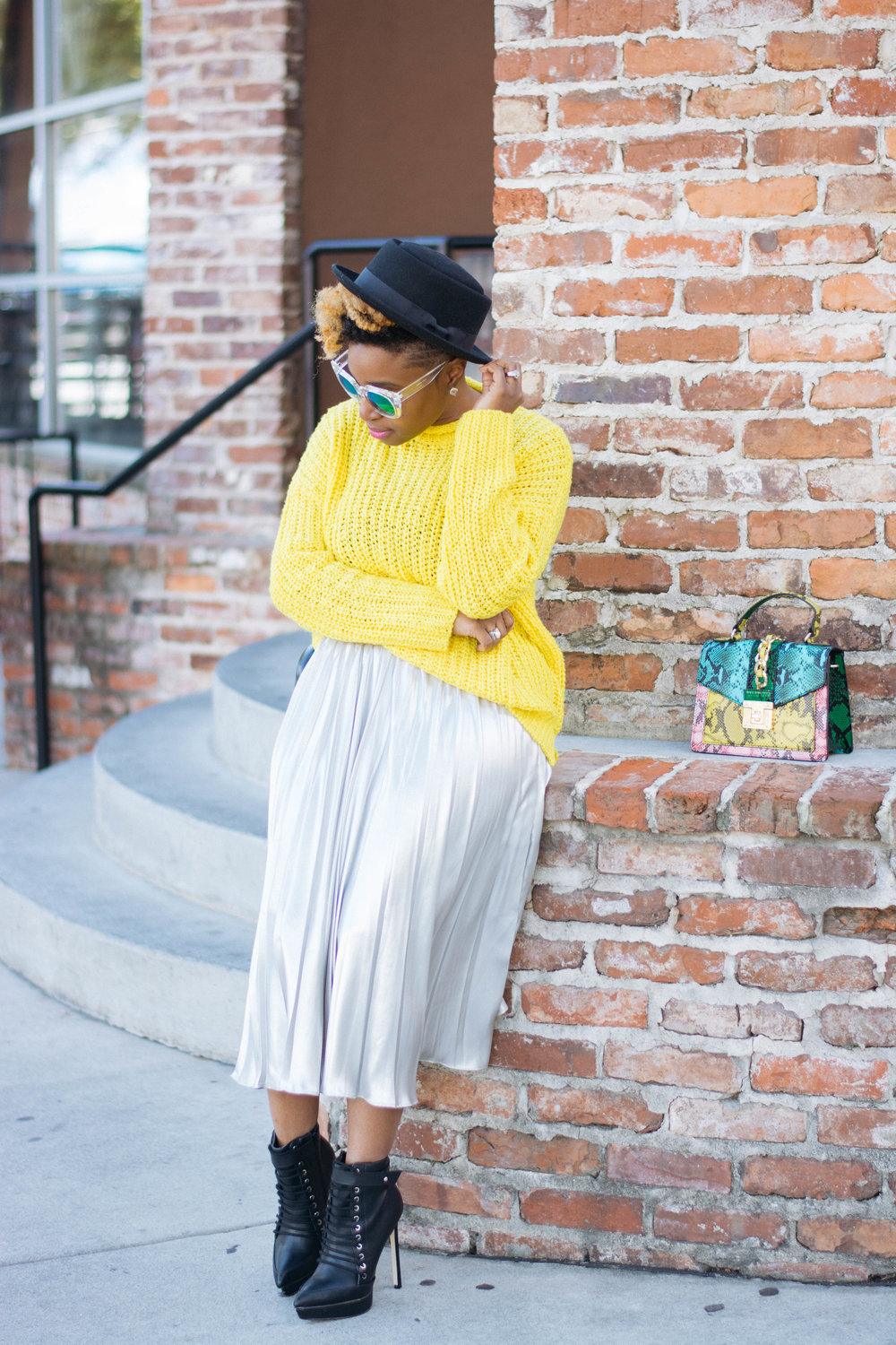 Bright Yellow Sweater + Silver Pleated Skirt Holiday Look -