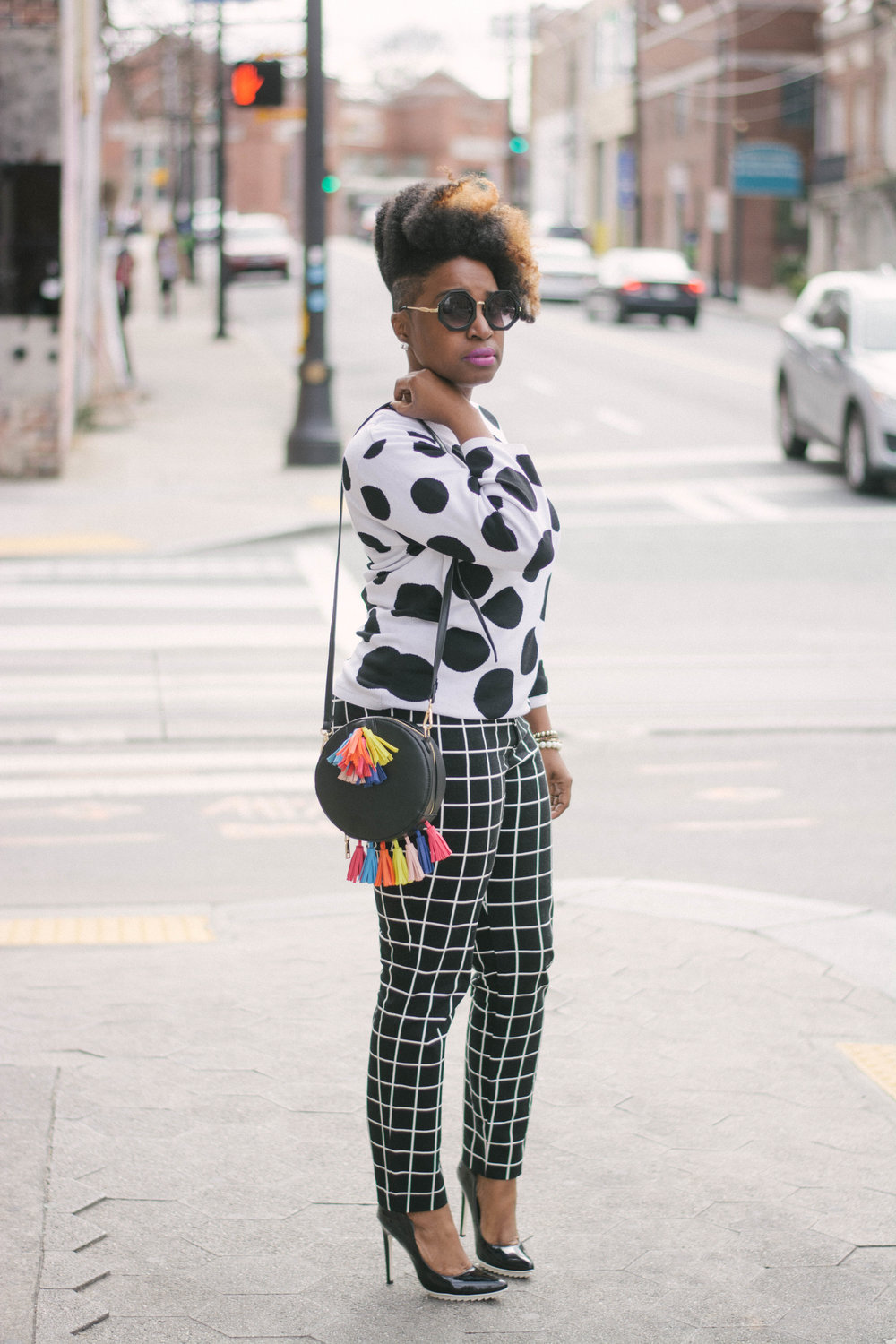 Polka Dots + Windowpane Print -