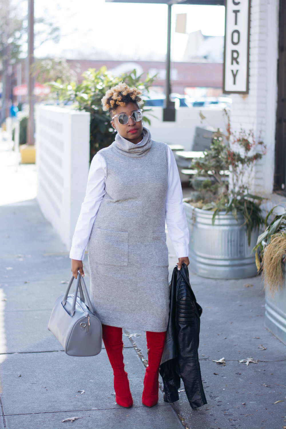 Work Wear - Grey Sweater Dress Red OTK Boots
