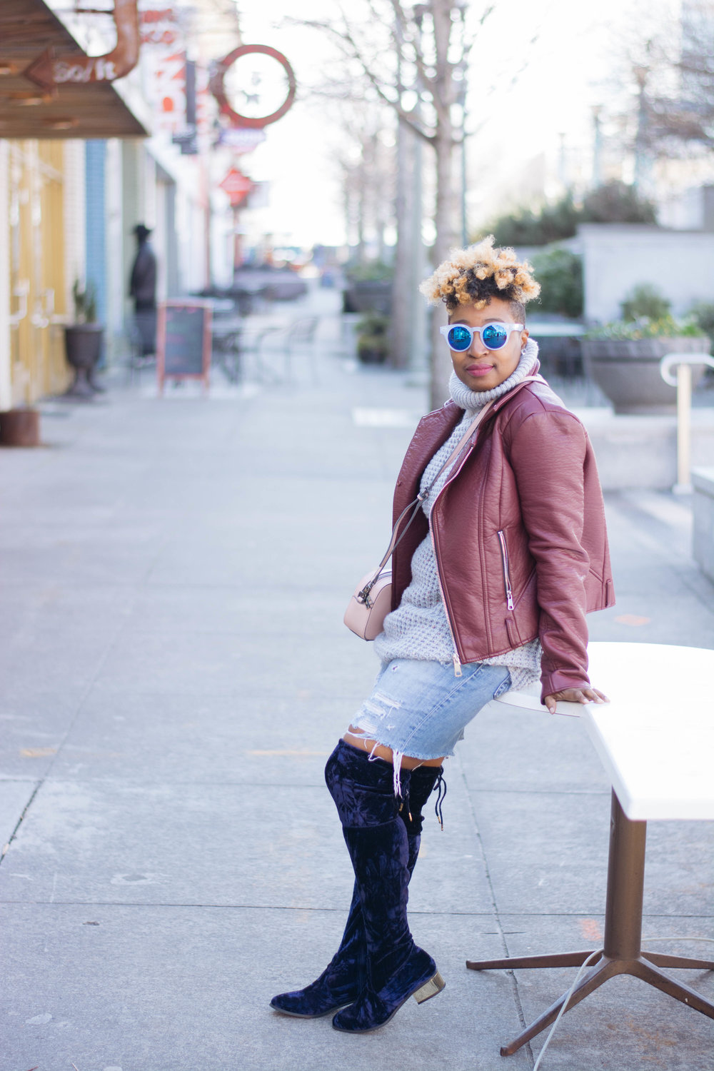Distressed Denim Short + Over The Knee Boots