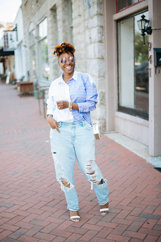 Melodie Stewart, Oversized Jeans Street style, Atlanta blogger