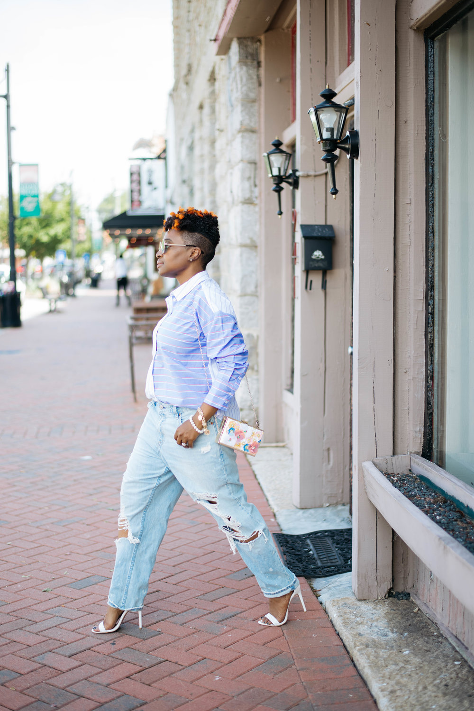 Melodie Stewart, Oversized Jeans Streetstyle, Atlanta blogger