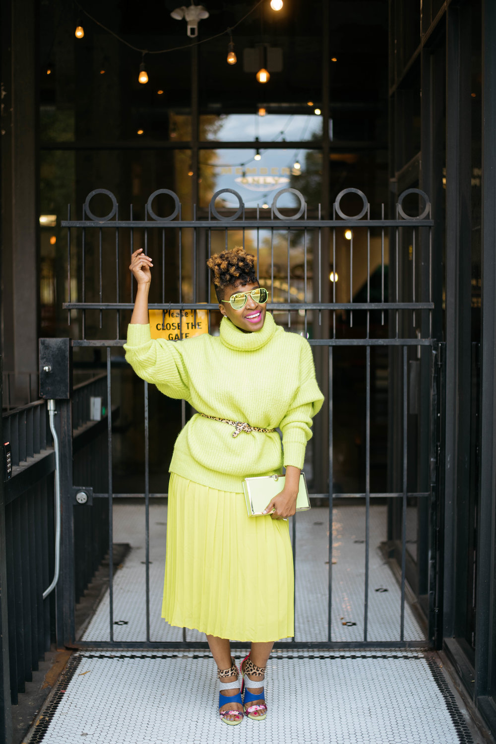 monochrome street style, atlanta top blogger, neon sweater
