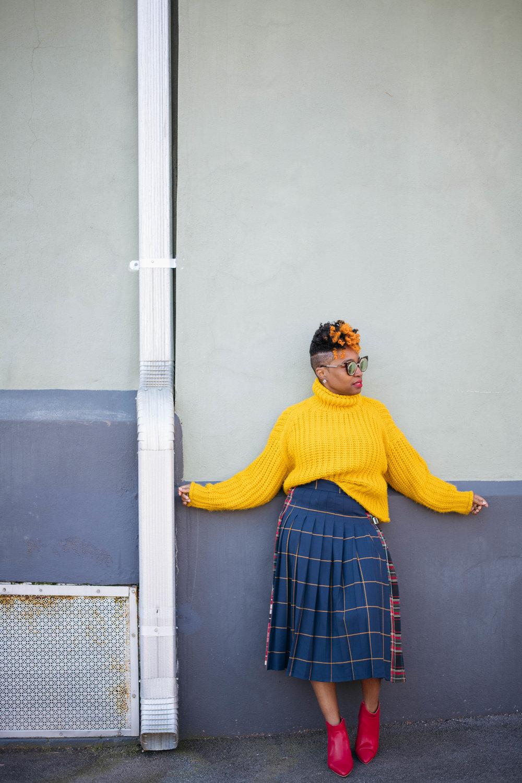 Mustard Sweater, Plaid skirt, Atlanta Stylist