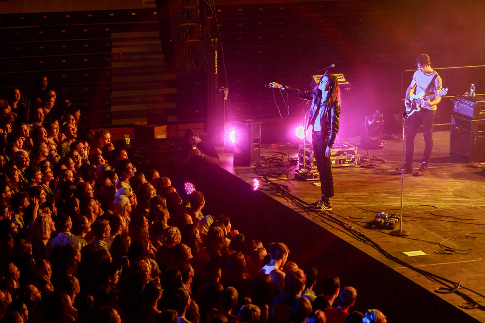 BØRNS (real name Garrett Borns,) performs in Ritchie Colliseum on September 2, 2016. Back to school concerts like this one are a great way to let off steam at the beginning of a semester.