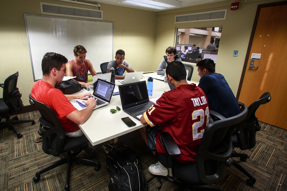 A group of students study for an engineering class on September 12, 2016. The second floor of McKeldin Library makes a great study space.