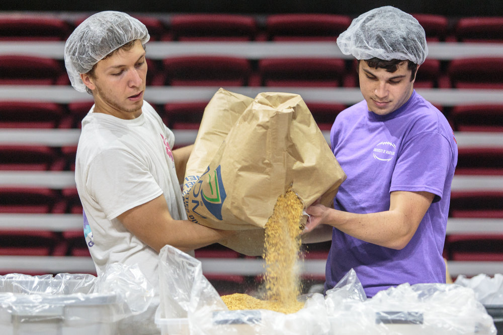 Nick Iacono (left), a junior mathematics major, and Sebastien Chasse (right), a senior finance and accounting major, help at the Terps Against Hunger Homecoming event on Sunday, Sept. 25, 2016.