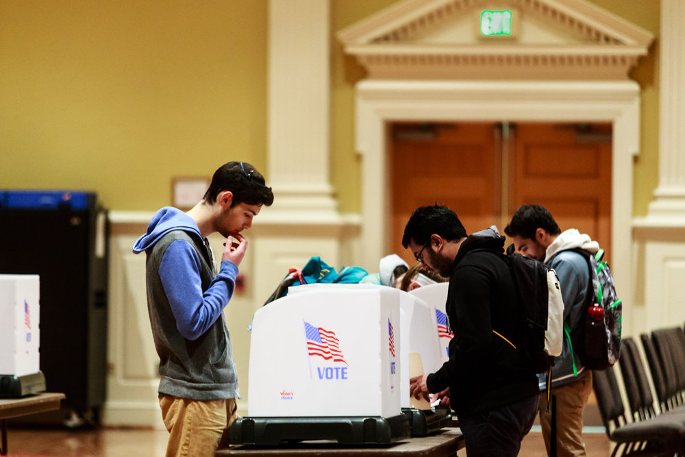 Voters fill out their ballots in the Stamp Student Union voting location on Tuesday, Nov. 8, 2016. While Maryland voted heavily democratic, it was not enough to help nominee Hillary Clinton clinch the necessary 270 Electoral votes.