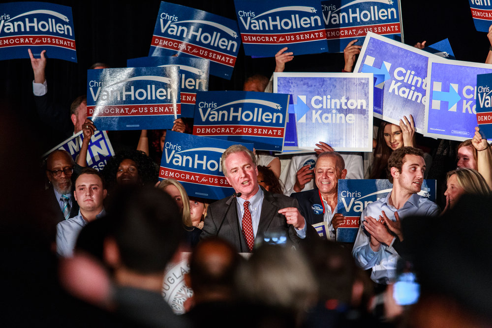 The newly elected Senator Chris Van Hollen speaks at a watch party on Tuesday, Nov. 8, 2016 after his first time win in a Senatorial race. The party also celebrated the victories of Reps. Jamie Raskin and Anthony Brown.