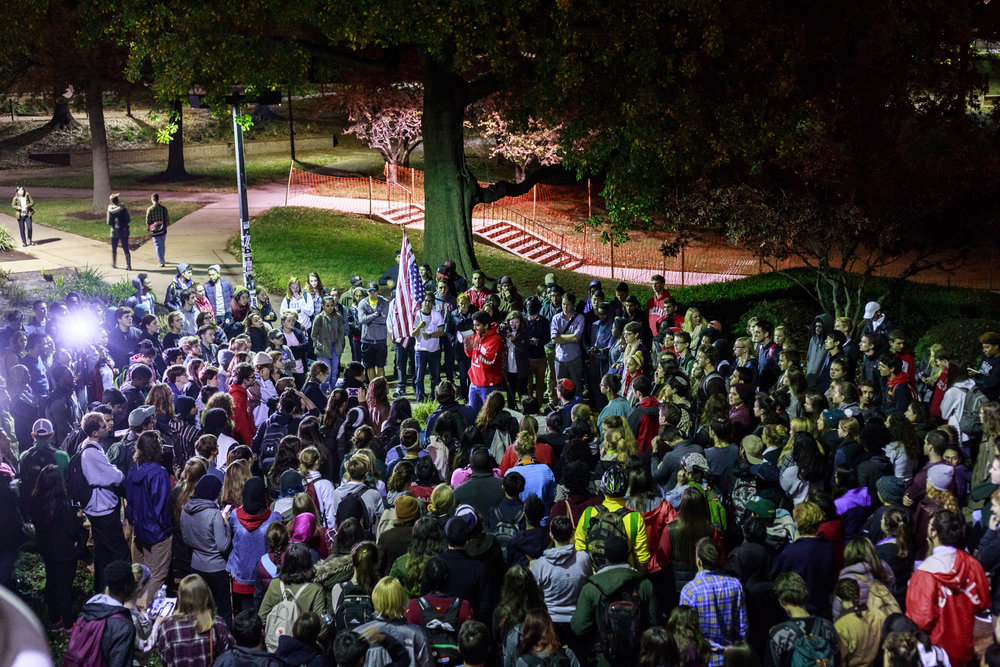 Students at the University of Maryland gathered outside McKeldin Library on Wednesday, Nov. 9, 2016 to stand in protest of the election of Donald Trump. The protestors took turns speaking, discussing their concerns with a Trump presidency.