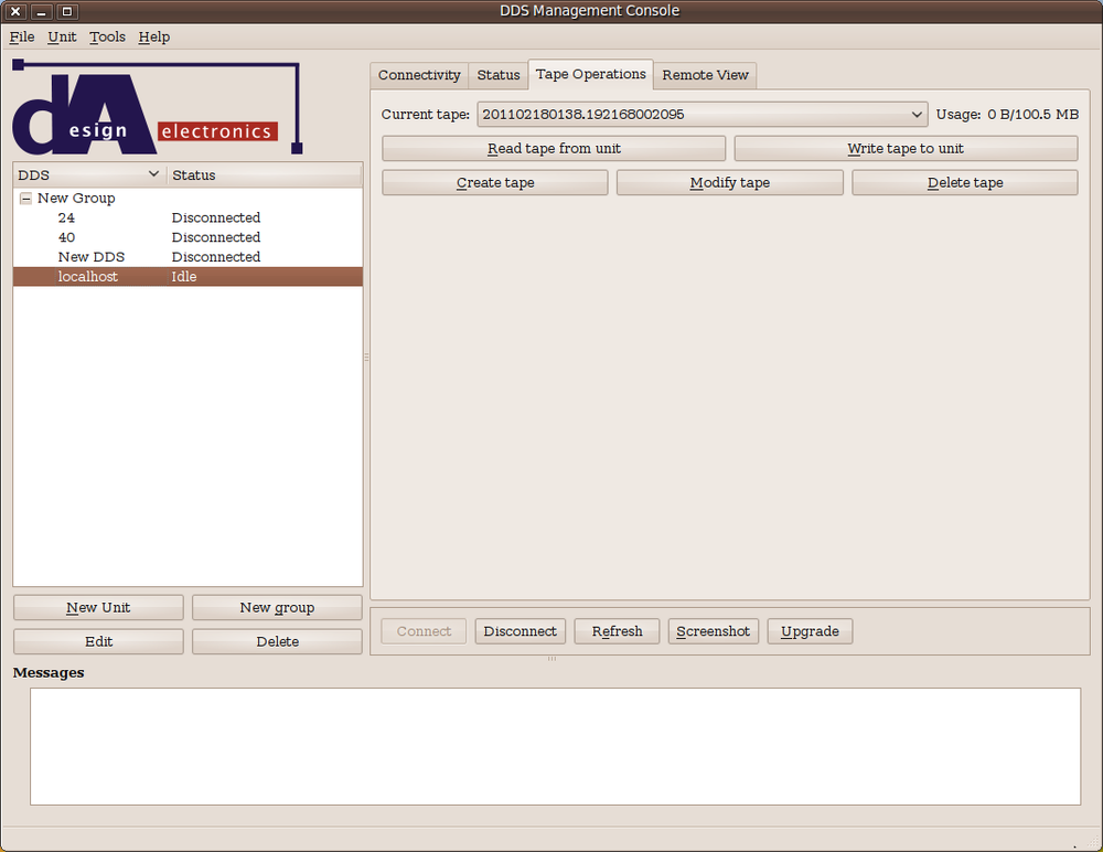 Screenshot of network management console