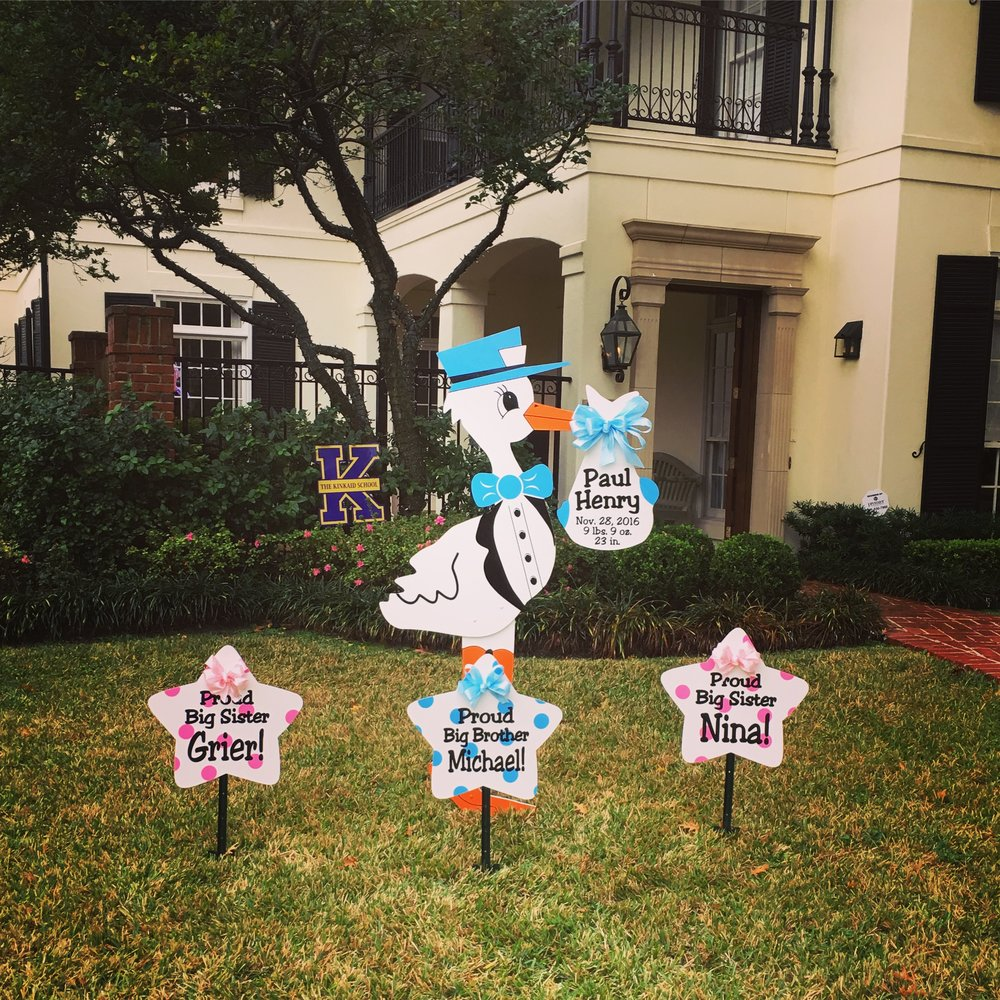 Baby boy stork with brother and sister sibling signs