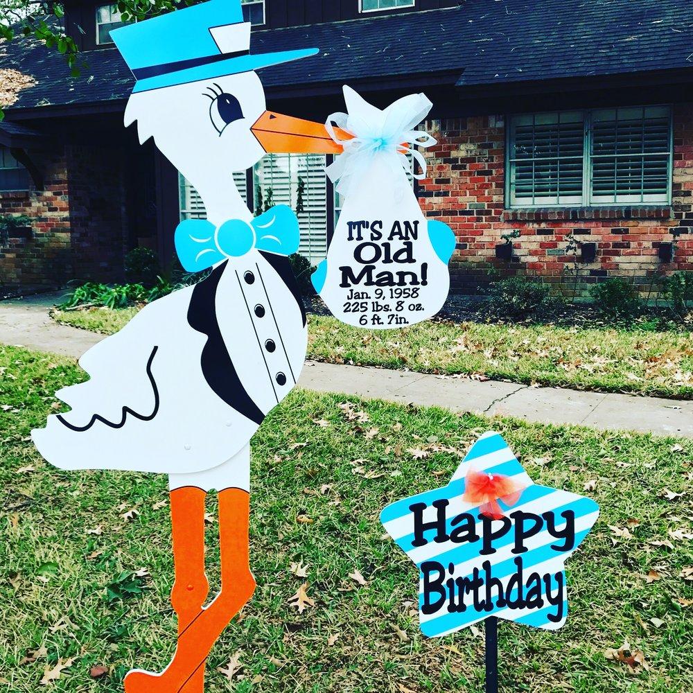 Old man birthday stork