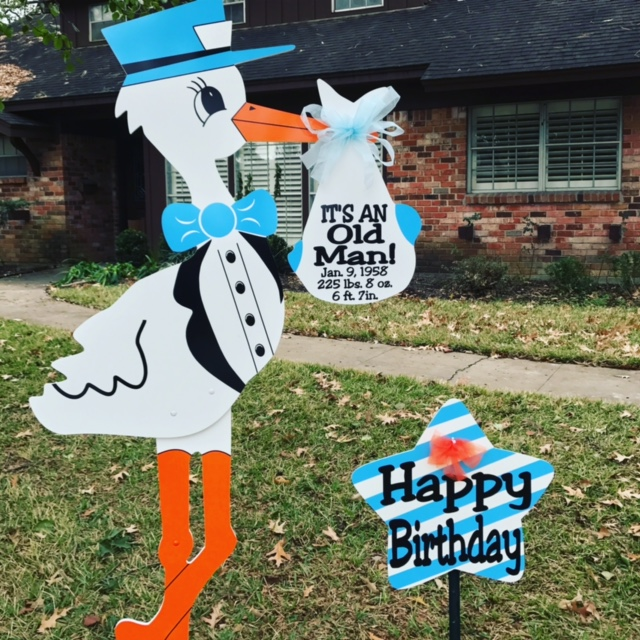 Old Man Birthday Stork Sign