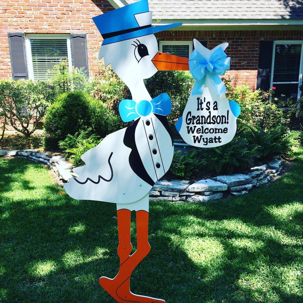 Grandson Stork yard sign