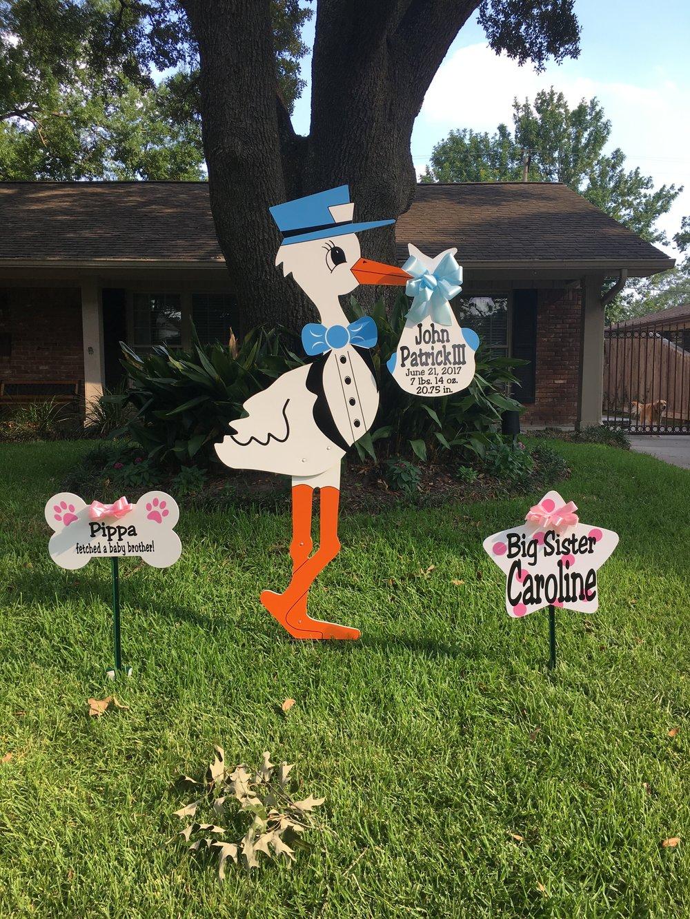 Boy stork birth announcement