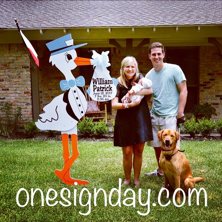 Welcome home stork yard sign